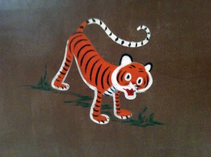 Close-up of Tiger on Nursery Wall