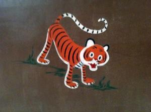 Close-up of Tiger on Nursery Wall
