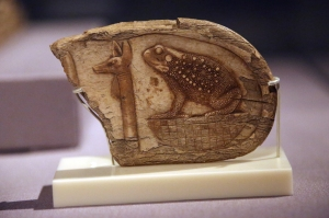 Jackal Head and Toad on Basket - Apotropaic Wand to Protect Mother and Child (made of hippopotamus ivory)