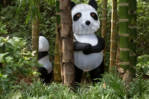 Fabric Panda Standing Beside Bamboo