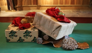 Presents with Natural Decorations (dried lotus pods and wasp nests)