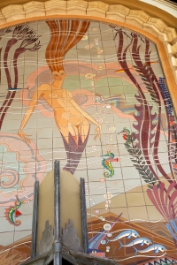 Close-up of 18-foot-tall Catalina Tile Mermaid