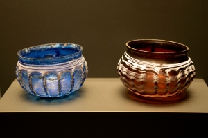 Blue and Burgundy Ribbed Bowls with White Trails