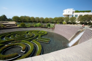 Central Garden Overlook of Getty Logo formed by Floating Azalea Maze