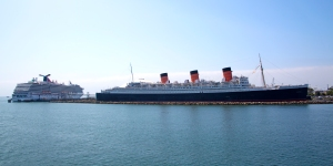Queen Mary Beside Modern Day Cruise Ship (left)