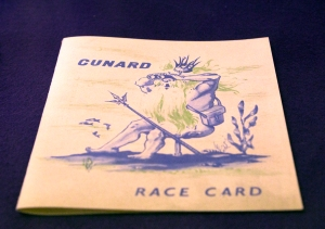 Vintage Cunard Race Card (Neptune with his Trident Keeping Score)