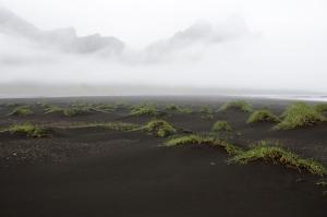 Black Sand Dunes and Misty Vestrahorn Mountain