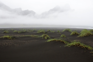 Black Sand Dunes and Misty Vestrahorn Mountain
