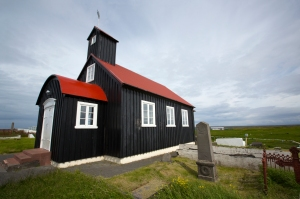 Kirkjuvogskirkja is one of three Icelandic churches painted black (built 1860)