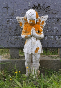 Cherub covered with orange lichens in Kalfatjarnarkirkja cemetery