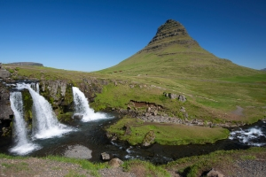 "Close-up of Kirkjufell ""Church"" Mountain and Waterfalls"
