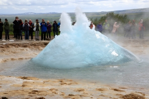Blue Bubble of Strokkur Geyser Eruption