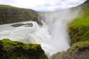 Close-up of Gullfoss Waterfall Gorge
