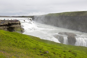 Gullfoss Waterfall: Tourists on Rock Ledge