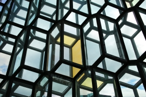 Close-up of Geometric Colored Glass