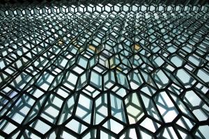 Looking up at Harpa Glass Wall