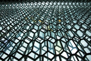 Looking up at Harpa Glass Wall