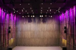 Dark Theater Stage with Purple Lighting