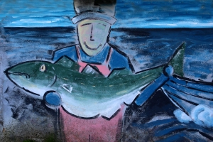 Fisherman with Fish Mural