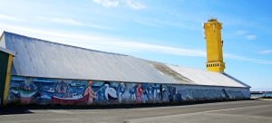Fish Themed Murals on Warehouse attached to Sandgerdi Lighthouse
