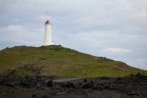 Reykjanes Lighthouse on Hill
