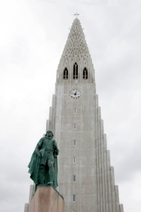Statue of Leif Eriksson in Front of Hallgrimskirkja Tower