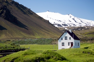 Beautiful Home by Harbor with Snaefellsjokull Glacier in Background
