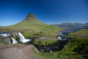 "Kirkjufell ""Church"" Mountain Water Flow to Sea"