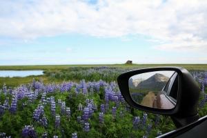 Icelandic Mountain in Rear-View Mirror