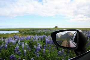 Icelandic Mountain in Rear-View Mirror