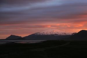 Pink Midnight Sunset over Snaefellsjokull Glacier