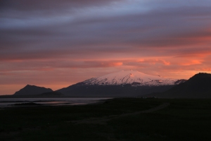 Pink Midnight Sunset over Snaefellsjokull Glacier