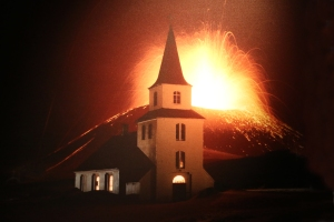 1973 Photograph of Church and Erupting Volcano