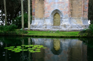 Gold Door of Bok Tower Reflected in Pond