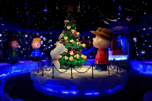 Charlie Brown and Snoopy Around Decorated Tree