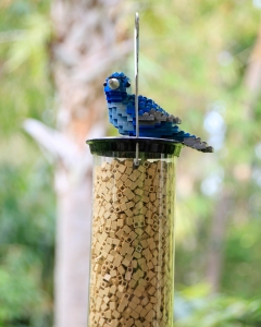 Bluebird on Feeder with LEGO Birdseed